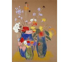 Odilon Redon - Three Vases Of Flowers. Still life with flowers: flowers, blossom, nature, botanical, floral flora, wonderful flower, plants, cute plant for kitchen interior, garden, vase Photographic Print