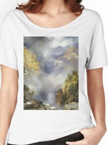 Thomas Moran - Mist In The Canyon. Mountains landscape: mountains, rocks, rocky nature, sky and clouds, trees, peak, forest, rustic, hill, travel, hillside Women's Relaxed Fit T-Shirt