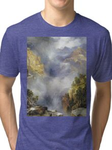 Thomas Moran - Mist In The Canyon. Mountains landscape: mountains, rocks, rocky nature, sky and clouds, trees, peak, forest, rustic, hill, travel, hillside Tri-blend T-Shirt