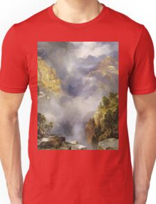 Thomas Moran - Mist In The Canyon. Mountains landscape: mountains, rocks, rocky nature, sky and clouds, trees, peak, forest, rustic, hill, travel, hillside Unisex T-Shirt