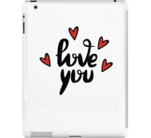 I love you hand lettering feelings happiness heart sign recognition iPad Case/Skin