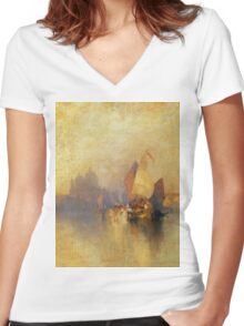 Thomas Moran - Opalescent Venice. Sea landscape: sea view,  yachts,  holiday, sailing boat, coast seaside, waves and beach, marine, seascape, sun clouds, nautical, ocean Women's Fitted V-Neck T-Shirt