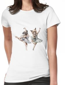 Hipster Ballerinas - Dog Cat Dancers (scattered on beige) Womens Fitted T-Shirt