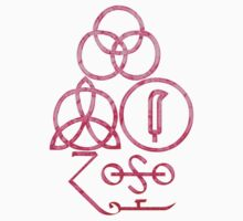 LED ZEPPELIN BAND SYMBOLS (HAZY PINK) by Endlessgrief