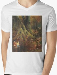 Thomas Moran - Slave Hunt. Forest view: forest , trees,  fauna, nature, birds, animals, flora, flowers, plants, field, weekend Mens V-Neck T-Shirt