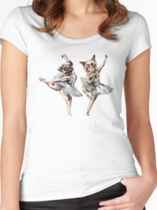 Hipster Ballerinas - Dog Cat Dancers (White) Women's Fitted Scoop T-Shirt