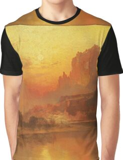Thomas Moran - The Golden Hour . Mountains landscape: mountains, rocks, rocky nature, sky and clouds, trees, peak, forest, rustic, hill, travel, hillside Graphic T-Shirt