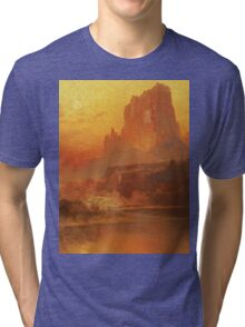 Thomas Moran - The Golden Hour . Mountains landscape: mountains, rocks, rocky nature, sky and clouds, trees, peak, forest, rustic, hill, travel, hillside Tri-blend T-Shirt