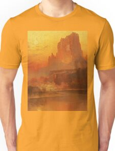 Thomas Moran - The Golden Hour . Mountains landscape: mountains, rocks, rocky nature, sky and clouds, trees, peak, forest, rustic, hill, travel, hillside Unisex T-Shirt