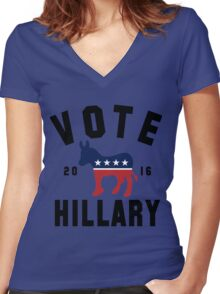 Vintage Vote Hillary Clinton 2016 Womens Shirt Women's Fitted V-Neck T-Shirt