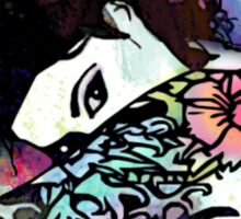 Coy - Tattooed Woman, Splashes of Color Sticker