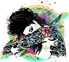 Coy - Tattooed Woman, Splashes of Color by LyelaRose