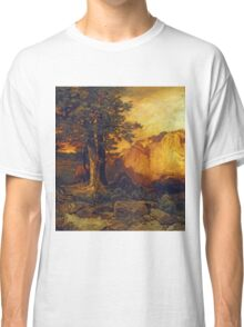 Thomas Moran - The Grand Canyon. Mountains landscape: mountains, rocks, rocky nature, sky and clouds, trees, peak, forest, rustic, hill, travel, hillside Classic T-Shirt