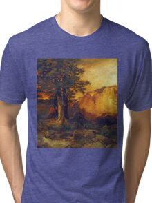 Thomas Moran - The Grand Canyon. Mountains landscape: mountains, rocks, rocky nature, sky and clouds, trees, peak, forest, rustic, hill, travel, hillside Tri-blend T-Shirt