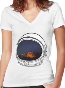 Camping on the Moon Women's Fitted V-Neck T-Shirt