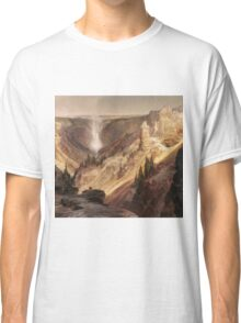Thomas Moran - The Grand Canyon Of The Yellowstone . Mountains landscape: mountains, rocks, rocky nature, sky and clouds, trees, peak, forest, rustic, hill, travel, hillside Classic T-Shirt