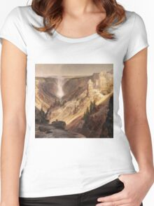 Thomas Moran - The Grand Canyon Of The Yellowstone . Mountains landscape: mountains, rocks, rocky nature, sky and clouds, trees, peak, forest, rustic, hill, travel, hillside Women's Fitted Scoop T-Shirt
