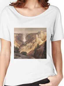 Thomas Moran - The Grand Canyon Of The Yellowstone . Mountains landscape: mountains, rocks, rocky nature, sky and clouds, trees, peak, forest, rustic, hill, travel, hillside Women's Relaxed Fit T-Shirt