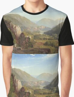 Thomas Moran - The Juniata, Evening. Mountains landscape: mountains, rocks, rocky nature, sky and clouds, trees, peak, forest, rustic, hill, travel, hillside Graphic T-Shirt