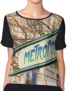 Paris Metro Sign Color Chiffon Top