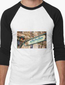 Paris Metro Sign Color Men's Baseball ¾ T-Shirt