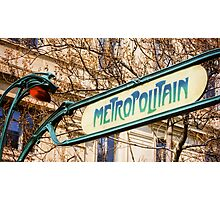 Paris Metro Sign Color Photographic Print