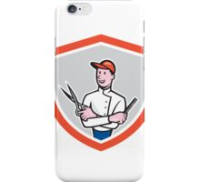 Barber Holding Scissors Comb Cartoon iPhone Case/Skin