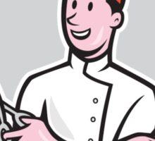 Barber Holding Scissors Comb Cartoon Sticker