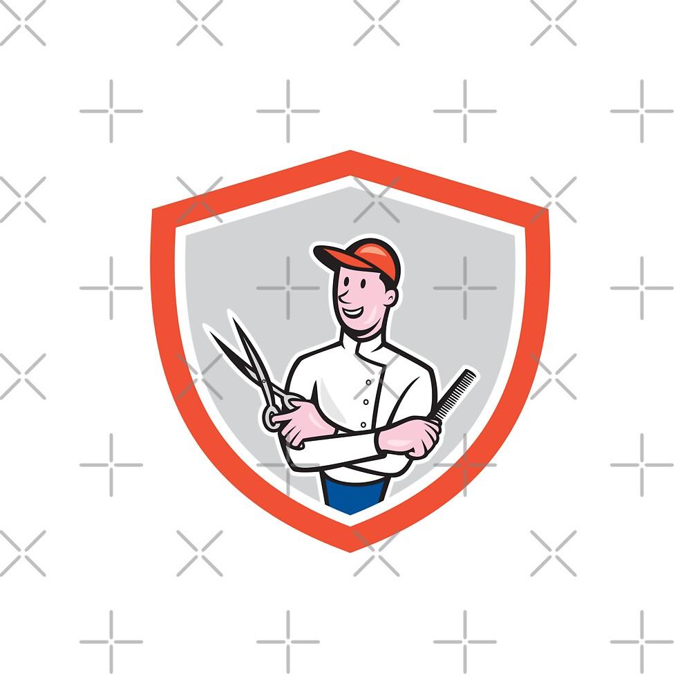 Barber Holding Scissors Comb Cartoon by patrimonio