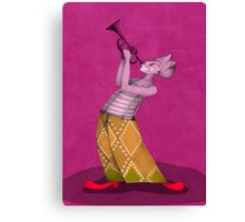 clown trompetist on magenta Canvas Print