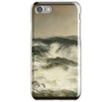 Thomas Moran - The Much Resounding Sea. Sea landscape: sea view,  yachts,  holiday, sailing boat, coast seaside, waves and beach, marine, seascape, sun clouds, nautical, ocean iPhone Case/Skin