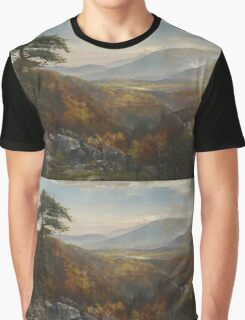 Thomas Moran - Valley Of The Catawissa In Autumn. Mountains landscape: mountains, rocks, rocky nature, sky and clouds, trees, peak, forest, rustic, hill, travel, hillside Graphic T-Shirt