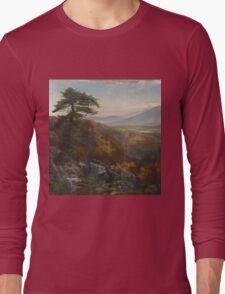 Thomas Moran - Valley Of The Catawissa In Autumn. Mountains landscape: mountains, rocks, rocky nature, sky and clouds, trees, peak, forest, rustic, hill, travel, hillside Long Sleeve T-Shirt