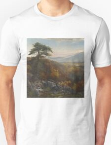 Thomas Moran - Valley Of The Catawissa In Autumn. Mountains landscape: mountains, rocks, rocky nature, sky and clouds, trees, peak, forest, rustic, hill, travel, hillside Unisex T-Shirt
