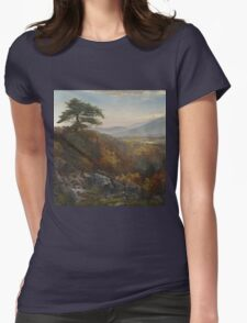 Thomas Moran - Valley Of The Catawissa In Autumn. Mountains landscape: mountains, rocks, rocky nature, sky and clouds, trees, peak, forest, rustic, hill, travel, hillside Womens Fitted T-Shirt