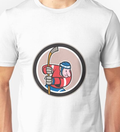 Field Hockey Player With Stick Cartoon Unisex T-Shirt