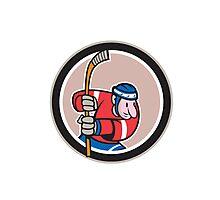 Field Hockey Player With Stick Cartoon Photographic Print