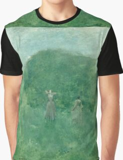 Thomas Wilmer Dewing - Summer. Forest view: forest , summer,  fauna, nature, flowers, woman, weekend ,dreams, love, charm, emerald Graphic T-Shirt