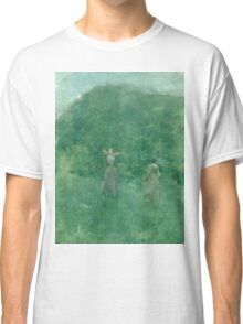 Thomas Wilmer Dewing - Summer. Forest view: forest , summer,  fauna, nature, flowers, woman, weekend ,dreams, love, charm, emerald Classic T-Shirt