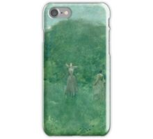 Thomas Wilmer Dewing - Summer. Forest view: forest , summer,  fauna, nature, flowers, woman, weekend ,dreams, love, charm, emerald iPhone Case/Skin