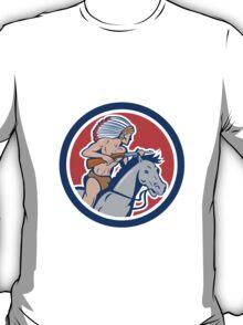 Native American Indian Chief Riding Horse Cartoon T-Shirt