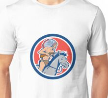 Native American Indian Chief Riding Horse Cartoon Unisex T-Shirt