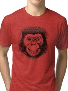 Chimpanzee Face Tri-blend T-Shirt