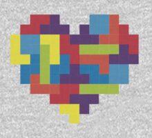 Tetris 8-Bit Heart  One Piece - Short Sleeve