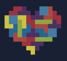 Tetris 8-Bit Heart  One Piece - Long Sleeve