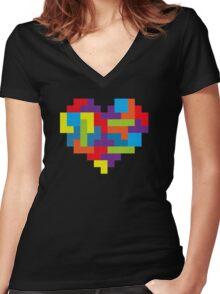 Tetris 8-Bit Heart  Women's Fitted V-Neck T-Shirt