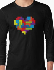 Tetris 8-Bit Heart  Long Sleeve T-Shirt