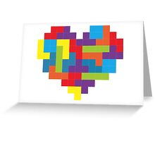 Tetris 8-Bit Heart  Greeting Card