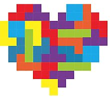 Tetris 8-Bit Heart  Photographic Print