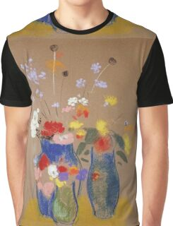 Odilon Redon - Three Vases Of Flowers. Still life with flowers: flowers, blossom, nature, botanical, floral flora, wonderful flower, plants, cute plant for kitchen interior, garden, vase Graphic T-Shirt